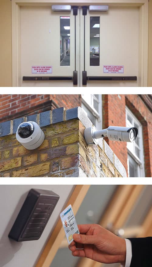 commercial doors with crash bars and door closers (top) CCTV cameras outside a commercial property (middle), and an access control key card being swiped in front of the reader (bottom).