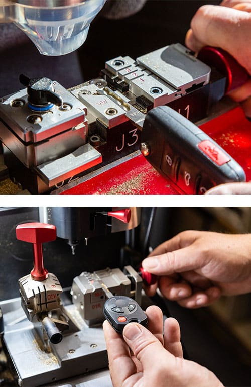 image of a flip key (top) and a transponder head key being cut (bottom)