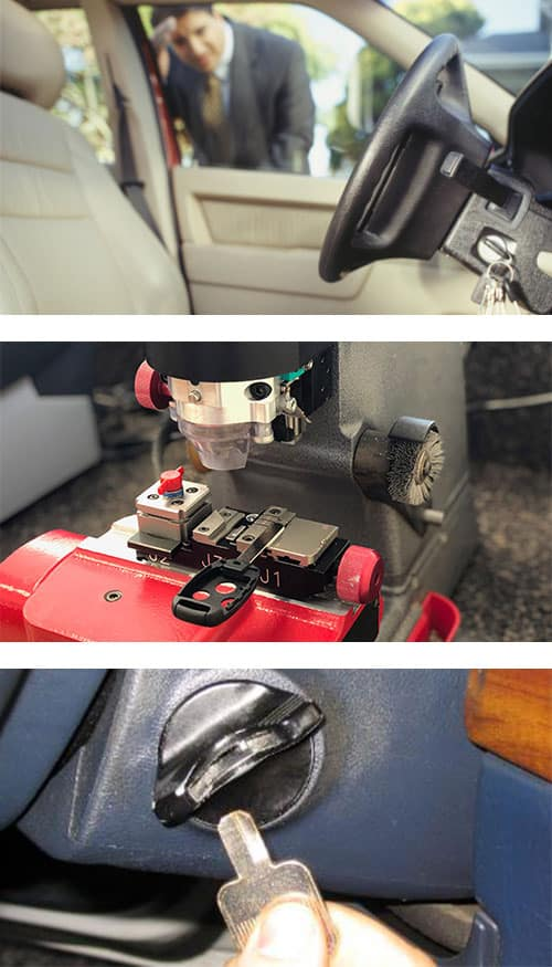 man looking at his keys locked in his car (top), transponder head key being cut (middle), and a car key broken off in the ignition (bottom).