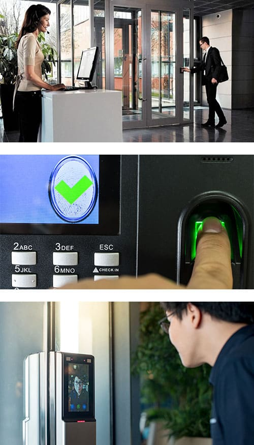 different types of access control systems: key card/fob/tag scanners (top), fingerprint readers (middle), Facial recognition (bottom).
