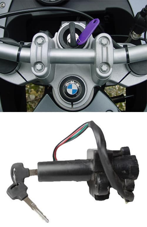 image of a newly-cut key in a BMW motorcycle ignition (top) and an ignition of the type we can repair and replace (bottom)