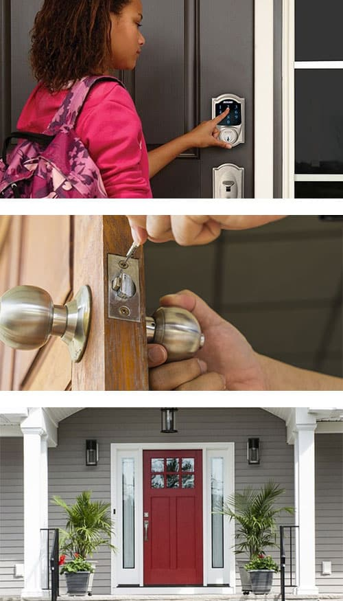 image of a Schlage Smart Lock on a residential front door (top) a new doorknob being installed (middle), and a front door with sidelights (bottom).