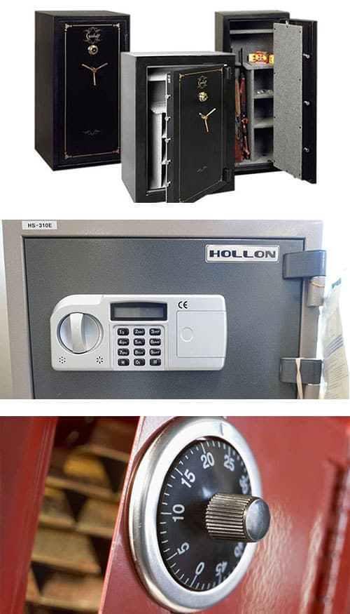 image of 3 Guardall floor safes (top) a small Hollon safe with digital lock (middle), and a red safe with analog combination dial (bottom).
