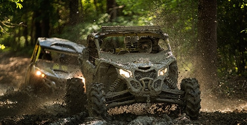Can-Am ATVs in the woods